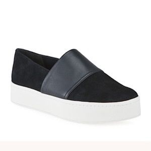 VINCE Ward Mixed Leather Slip-On Platform Sneaker